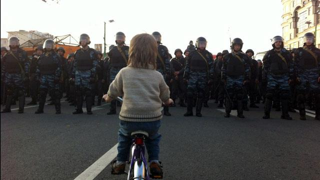 Boy on a Bike Becomes Moscow's Tiananmen Image