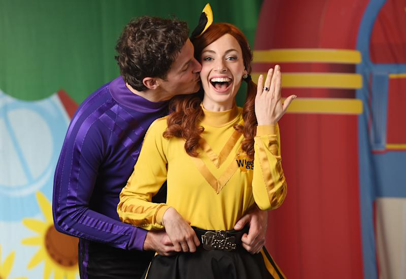 Lachlan Gillespie and Emma Watkins from children's band 'The Wiggles'