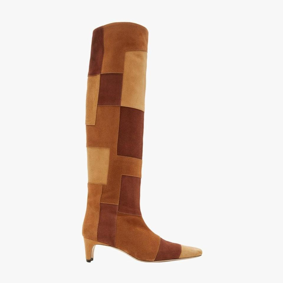 """$595, SAKS FIFTH AVENUE. <a href=""""https://www.saksfifthavenue.com/staud-wally-tall-patchwork-suede-boots/product/0400012933935"""" rel=""""nofollow noopener"""" target=""""_blank"""" data-ylk=""""slk:Get it now!"""" class=""""link rapid-noclick-resp"""">Get it now!</a>"""