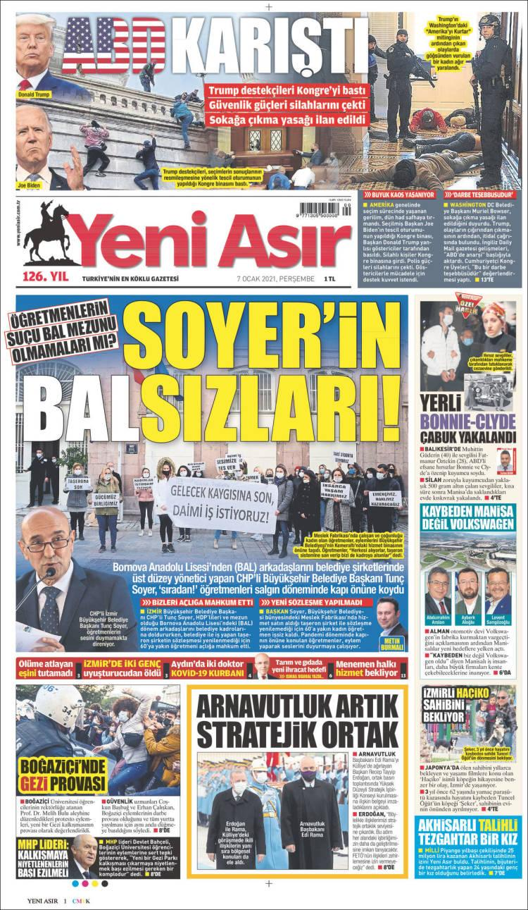 Front page of Turkey's Yeni Asir on Thursday