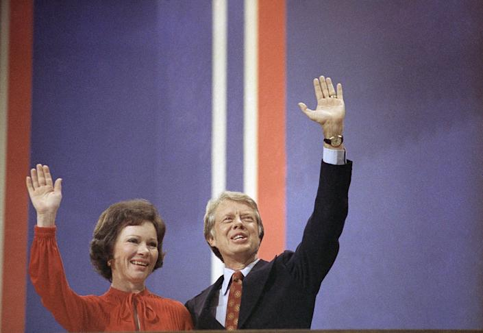 Jimmy Carter with Rosalynn Carter at the National Convention in Madison Square Garden in New York on July 15, 1976.