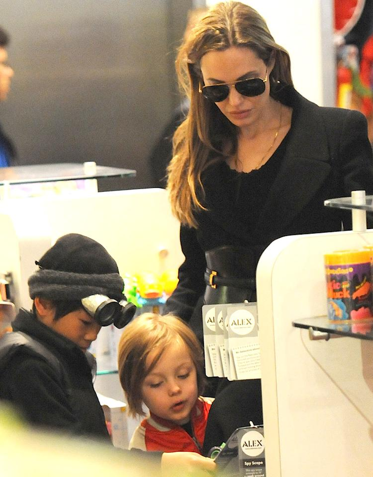 Angelina Jolie, Pax and Knox go shopping at  F.A.O Schwarz in NYC.