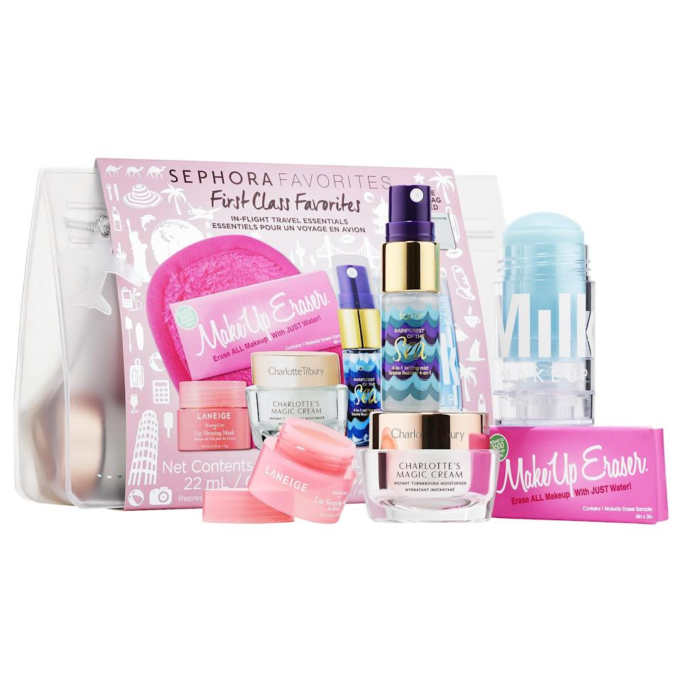 "<p>There are five bestsellers inside this new <a href=""https://www.popsugar.com/buy/Sephora-Favorites-Mini-Hydration-Set-568867?p_name=Sephora%20Favorites%20Mini%20Hydration%20Set&retailer=sephora.com&pid=568867&price=28&evar1=bella%3Aus&evar9=47425767&evar98=https%3A%2F%2Fwww.popsugar.com%2Fbeauty%2Fphoto-gallery%2F47425767%2Fimage%2F47425774%2FSephora-Favorites-Mini-Hydration-Set&prop13=mobile&pdata=1"" class=""link rapid-noclick-resp"" rel=""nofollow noopener"" target=""_blank"" data-ylk=""slk:Sephora Favorites Mini Hydration Set"">Sephora Favorites Mini Hydration Set</a> ($28), including a summer-ready, full-sized Milk Makeup Cooling Water, a sample of the MakeUp Eraser (that removes all makeup with just water), and other products from Charlotte Tilbury, Tarte, and Laneige.</p>"
