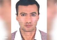"""In this image made from April 17, 2021, video released by the Islamic Republic Iran Broadcasting, IRIB, state-run TV, shows the portrait of a man identified as Reza Karimi alleged saboteur of the incident that damaged a centrifuge hall at the Natanz Uranium Enrichment Facility on Sunday, April 11, some 200 miles (322 km) south of the capital Tehran, Iran. Iran named the suspect Saturday in the attack saying he had fled the country """"hours before"""" the sabotage happened. (IRIB via AP, File)"""