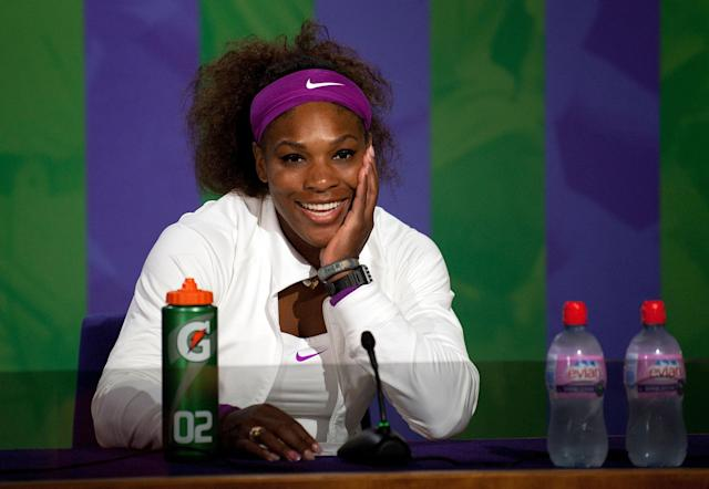 LONDON, ENGLAND - JULY 07: Serena Williams of the USA speaks at a press conference after winning her Ladies? Singles final match against Agnieszka Radwanska of Poland on day twelve of the Wimbledon Lawn Tennis Championships at the All England Lawn Tennis and Croquet Club on July 7, 2012 in London, England. (Photo by Pool/Getty Images)