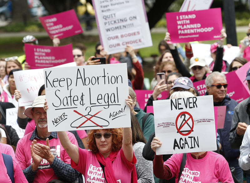 People gather at the state Capitol to rally in support of abortion rights, Tuesday, May 21, 2019, in Sacramento, Calif. (AP Photo/Rich Pedroncelli)