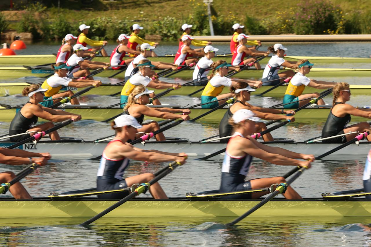 WINDSOR, ENGLAND - JULY 30:  New Zealand competes in the Women's Four Skulls on Day 3 of the London 2012 Olympic Games at Eton Dorney on July 30, 2012 in Windsor, England.  (Photo by Ezra Shaw/Getty Images)