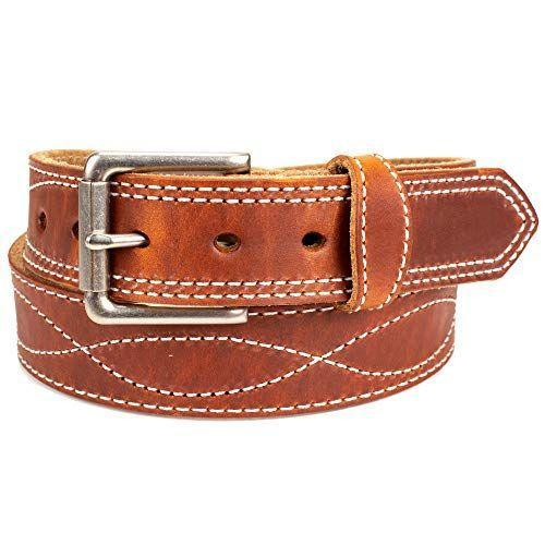 """<p><strong>Yoder Leather Company</strong></p><p>amazon.com</p><p><strong>$54.99</strong></p><p><a href=""""https://www.amazon.com/dp/B07H69X1F9?tag=syn-yahoo-20&ascsubtag=%5Bartid%7C2139.g.36521961%5Bsrc%7Cyahoo-us"""" rel=""""nofollow noopener"""" target=""""_blank"""" data-ylk=""""slk:BUY IT HERE"""" class=""""link rapid-noclick-resp"""">BUY IT HERE</a></p><p>There are plenty of men's western belts available on Amazon, but the ornate contrast stitching on this one makes it stand out. Made in Northern Indiana by Amish craftsmen, the attention to detail is clear. This particular colorway has even been wax-sealed to protect the surface from moisture, so it's built to last. </p>"""