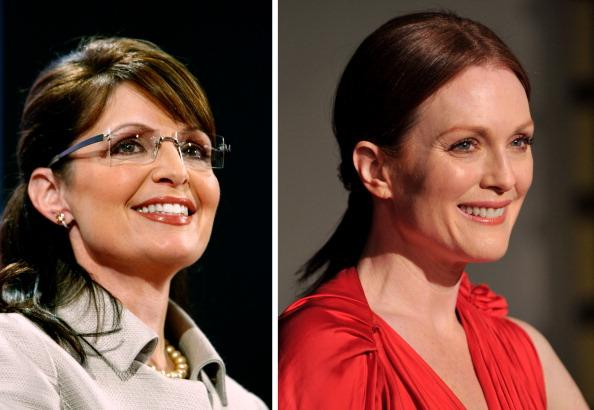 (FILE PHOTO) In this composite image a comparison has been made between Sarah Palin (L) and actress Julianne Moore. The TV film biopic 'Game Change'  airing in 2012 in March on HBO stars actress Julianne Moore as Republican nominee Sarah Palin during the 2008 presidential campaign in the US. ***LEFT IMAGE*** ST. PAUL, MN - SEPTEMBER 03:  Republican U.S vice-presidential nominee Alaska Gov. Sarah Palin pauses while speaking on day three of the Republican National Convention (RNC) at the Xcel Energy Center on September 3, 2008 in St. Paul, Minnesota. The GOP will nominate U.S. Sen. John McCain (R-AZ) as the Republican choice for U.S. President on the last day of the convention.  (Photo by Chip Somodevilla/Getty Images)***RIGHT IMAGE***SANTA BARBARA, CA - FEBRUARY 11:  Actress Julianne Moore arrives at the presentation of the Santa Barbara Film Festival Montecito Award to actress Julianne Moore on February 11, 2010 in Santa Barbara, California.  (Photo by Alberto E. Rodriguez/Getty Images)