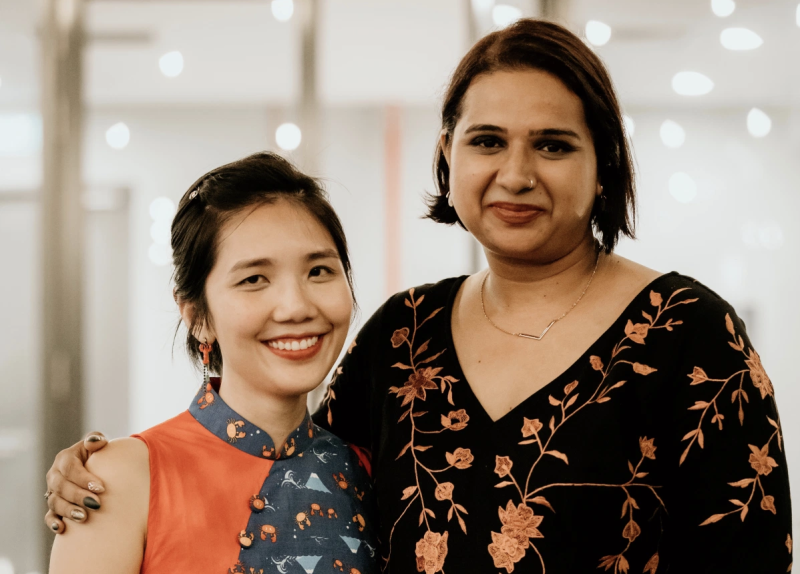Dr Sandhya Sriram (right) and Dr Ka Yi Ling (left) are the co-founders of Shiok Meats. (PHOTO: Shiok Meats)