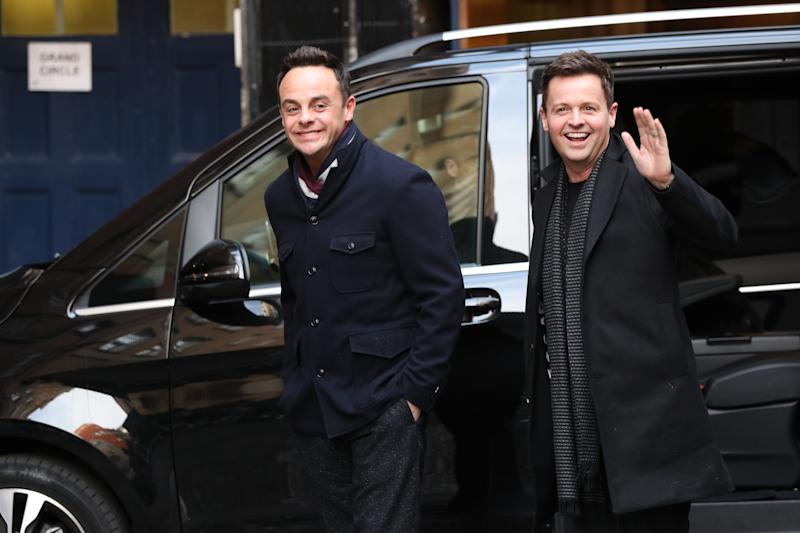 Anthony McPartlin (left) and Declan Donnelly arrive at Britain's Got Talent auditions at the London Palladium.