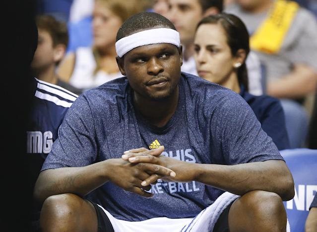 Memphis Grizzlies forward Zach Randolph sits on the bench in the second half of Game 6 of an opening-round NBA basketball playoff series against the Oklahoma City Thunder, Thursday, May 1, 2014, in Memphis, Tenn. Oklahoma City won 104-84 to even the series 3-3. (AP Photo/Mark Humphrey)