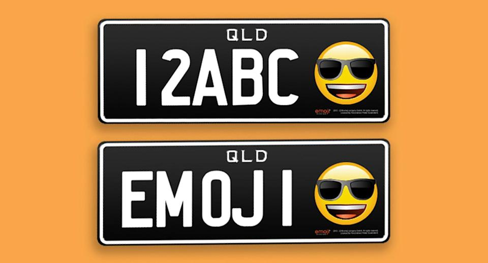 Drivers in Queensland will be able to add a selection of emojis to their vehicle registration plates from March 1. Source: PPQ Personalised Plates Queensland