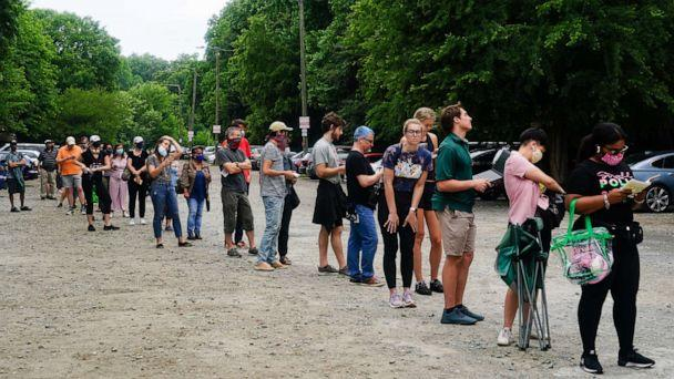PHOTO: People wait in line to vote in Georgias Primary Election, June 9, 2020 in Atlanta. (Elijah Nouvelage/Getty Images, FILE)