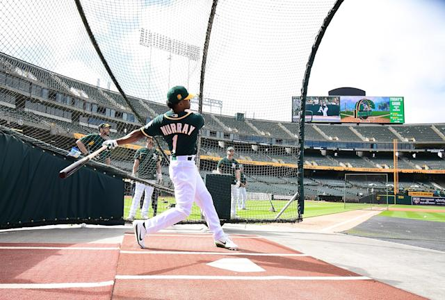 The Athletics' spring training begins Feb. 15. It remains unclear if Kyler Murray will report and follow a career in baseball. (Getty Images)