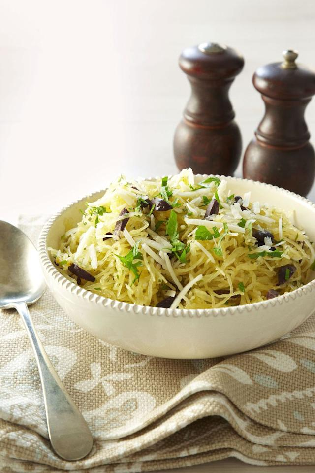 "<p>Add olives and pecorino to your squash to create this unique dinner dish. </p><p><strong>Get the recipe at <a rel=""nofollow"" href=""https://www.goodhousekeeping.com/food-recipes/a11133/spaghetti-squash-olives-pecorino-recipe-ghk0911/"">Good Housekeeping. </a></strong></p>"