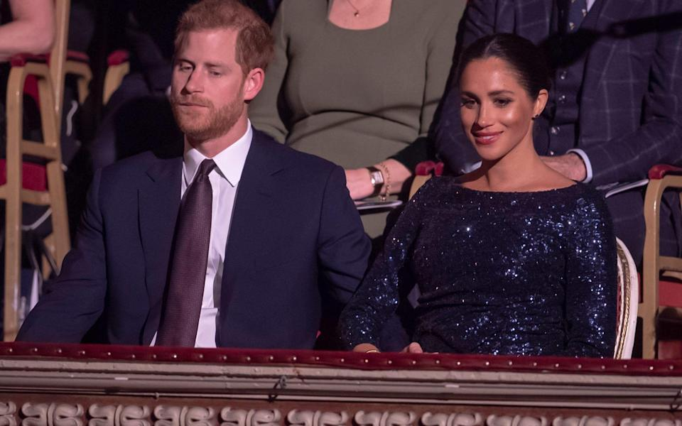The Duke and Duchess of Sussex attend the event at the Royal Albert Hall - Paul Grover for the Telegraph