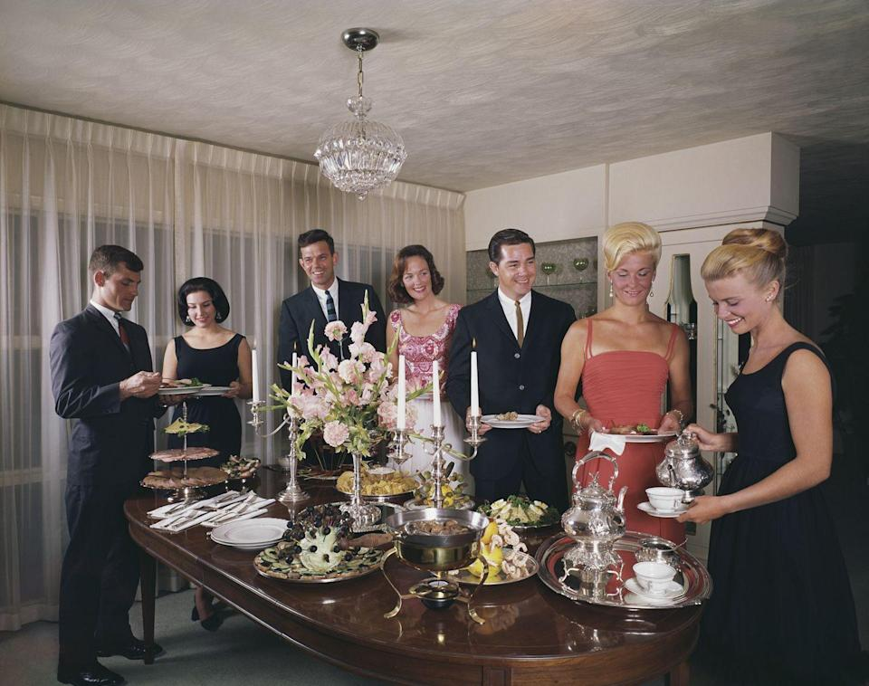 <p>For smaller groups, you couldn't go wrong with a buffet. Set up around the dining room table, everything could be laid out at once, from the hors d'oeuvres to dessert. </p>