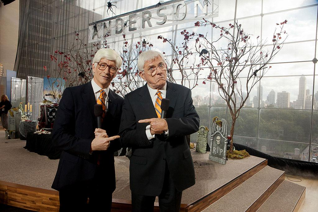 "Anderson Cooper dresses up as Phil Donahue with Surprise Guest Phil Donahue for the Halloween episode of ""Anderson."""