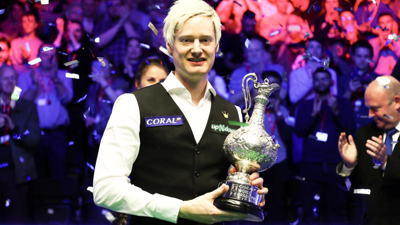 Neil Robertson, pictured here celebrating with his trophy after winning the snooker World Grand Prix.