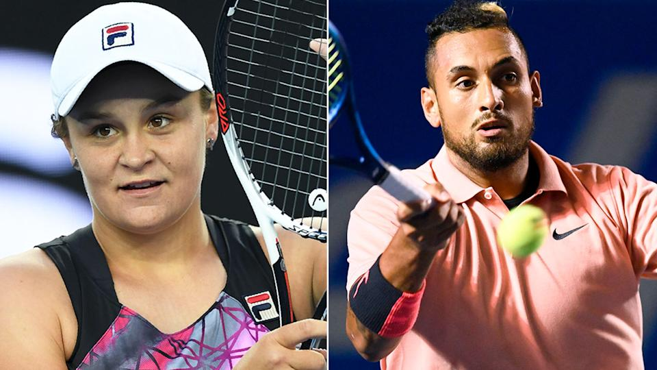 Pictured here, Aussie tennis stars Ash Barty and Nick Kyrgios.