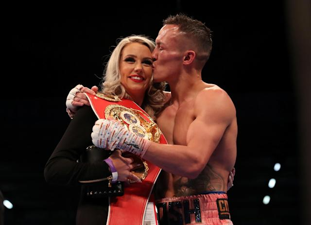 Boxing - Lee Selby vs Josh Warrington - IBF World Featherweight Title - Elland Road, Leeds, Britain - May 19, 2018 Josh Warrington celebrates winning the fight with his wife Natasha Action Images via Reuters/Peter Cziborra