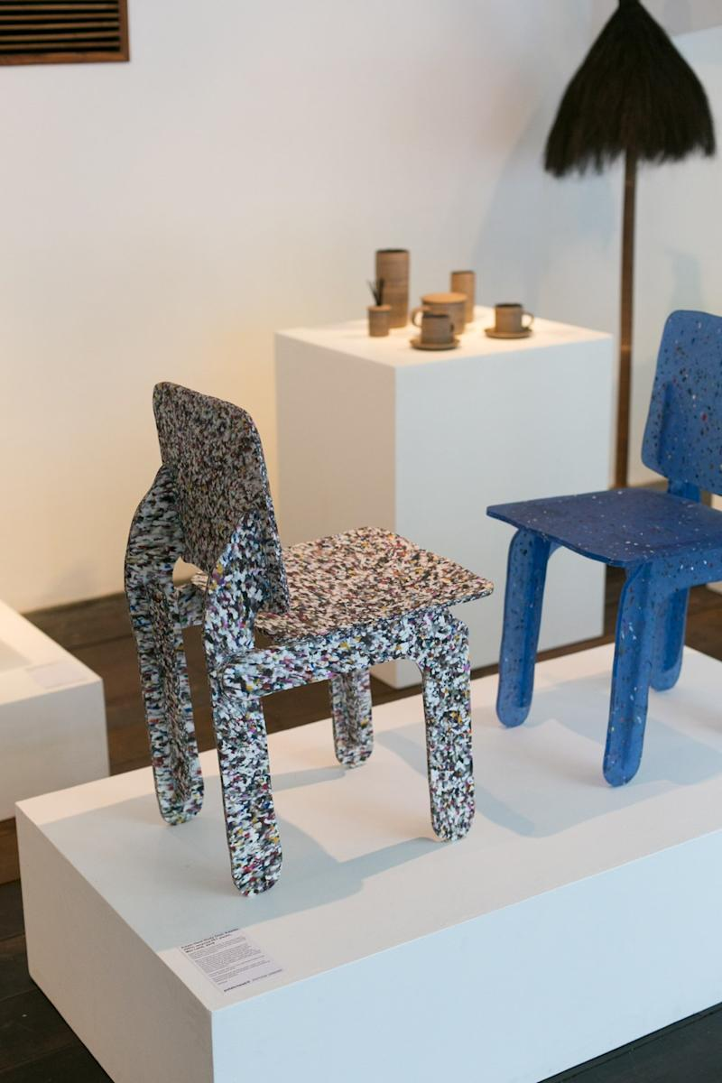 Two festively speckled plastic Study Chairs by Max Lamb.