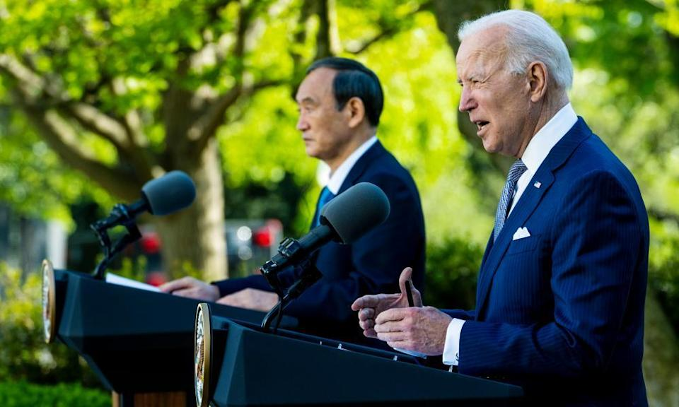 Joe Biden and Yoshihide Suga, the Japanese prime minister, in the Rose Garden of the White House on 16 April.