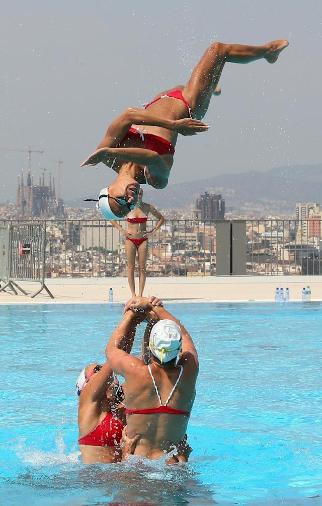 BARCELONA, SPAIN - JULY 18: The Switerland Syncronized Swimming Team trains ahead of the FINA World Championships on July 17, 2013 in Barcelona, Spain. (Photo by Quinn Rooney/Getty Images)