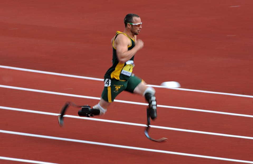 South Africa's Oscar Pistorius during the Paralympic World Cup in Manchester.