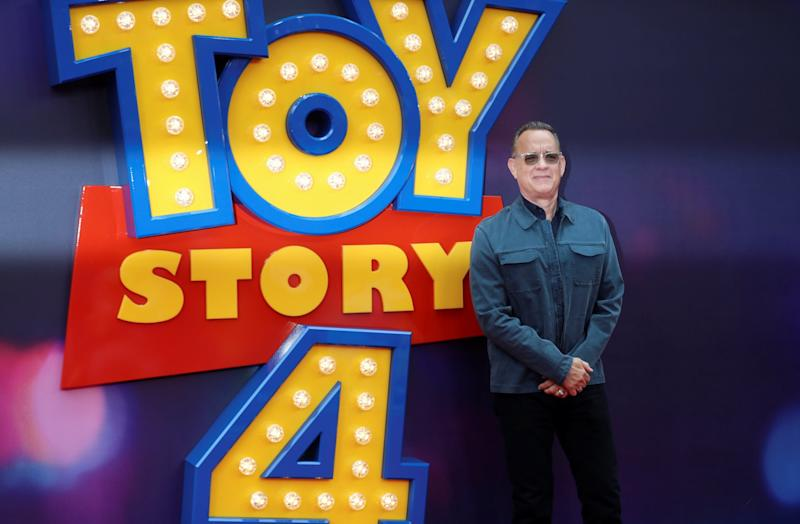 Tom Hanks attends the Toy Story 4 premiere in London (REUTERS)