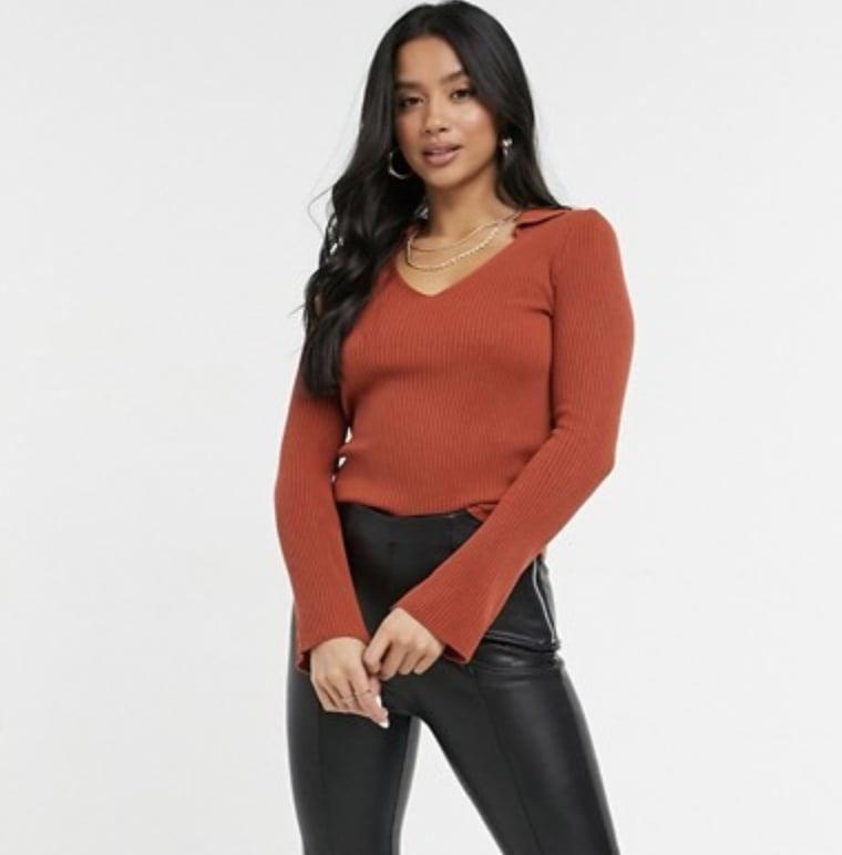 <p>This <span>ASOS Design Ribbed Sweater</span> ($36) will look great with leather pants.</p>