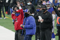 New York Giants head coach Joe Judge, center, watches his team during the second half of an NFL football game against the Philadelphia Eagles, Sunday, Nov. 15, 2020, in East Rutherford, N.J. (AP Photo/Seth Wenig)