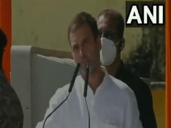 Congress leader Rahul Gandhi speaking at a rally in Nawada on Friday. Photo/ANI