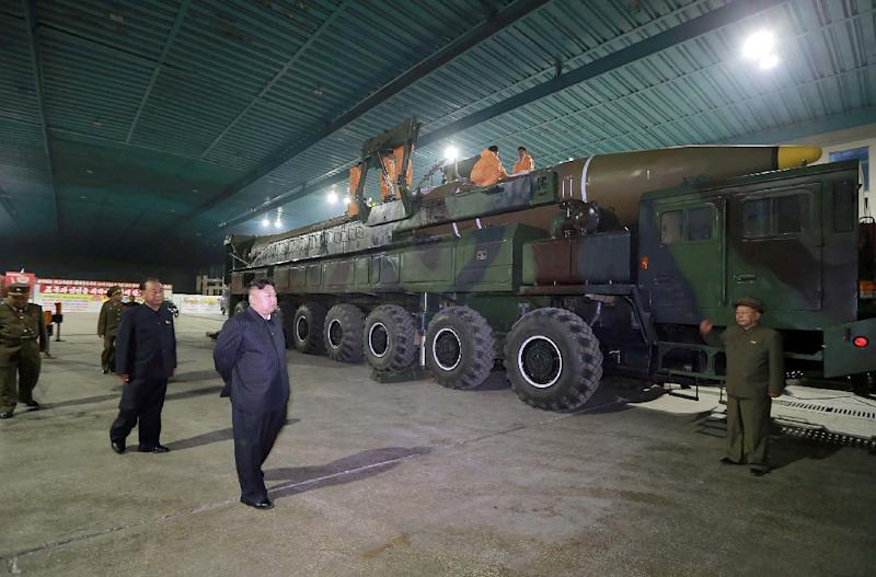 North Korean leader Kim Jong Un inspecting the assembly work of an ICBM which was launched in 2017