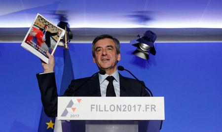 Francois Fillon, former French prime minister, member of the Republicains political party and 2017 presidential candidate of the French centre-right, attends a news conference in Paris