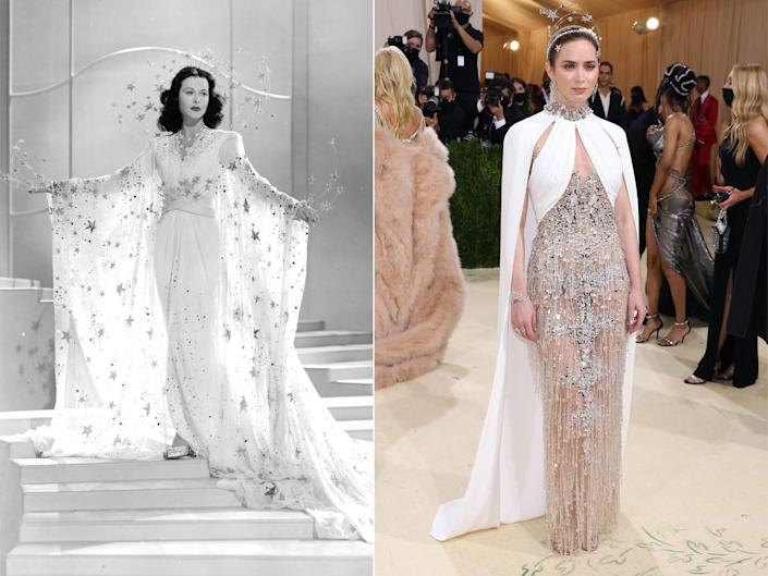 A side-by-side of Hedy Lamarr and Emily Blunt.