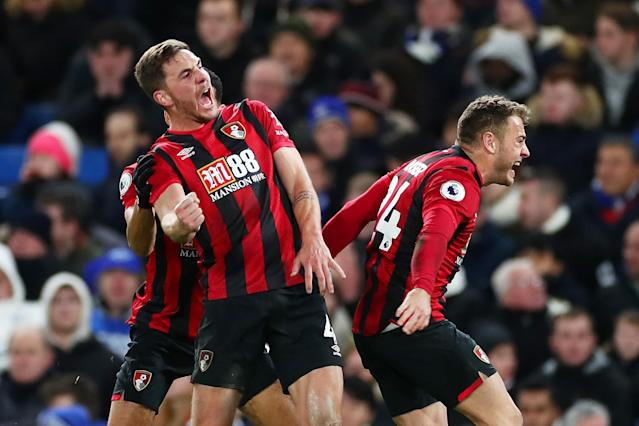 Dan Gosling of AFC Bournemouth celebrates with his teammates. (Credit: Getty Images)