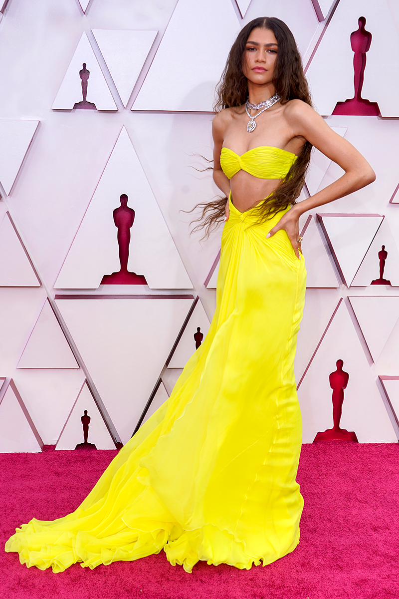 """<p>Zendaya's <a href=""""https://www.cosmopolitan.com/uk/fashion/celebrity/g36221852/oscars-2021-best-dressed/?slide=1"""" rel=""""nofollow noopener"""" target=""""_blank"""" data-ylk=""""slk:2021 Oscars dress"""" class=""""link rapid-noclick-resp"""">2021 Oscars dress</a>, designed by Valentino Haute Couture, sent <a href=""""https://www.cosmopolitan.com/uk/fashion/celebrity/a36222511/zendaya-oscars-dress-twitter/"""" rel=""""nofollow noopener"""" target=""""_blank"""" data-ylk=""""slk:Twitter into a total meltdown"""" class=""""link rapid-noclick-resp"""">Twitter into a total meltdown</a> and we can totally see why. Oh, and did you know this dress was also glow-in-the-dark? Very cool.</p>"""