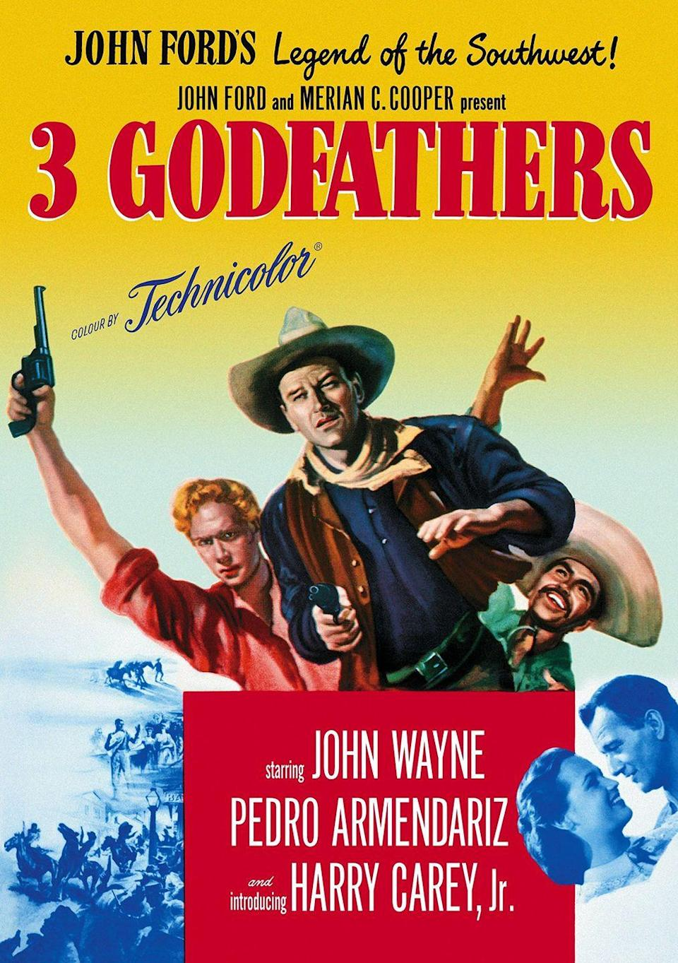 """<p>There aren't many Christmas Westerns, but this 1948 John Wayne movie about the redemption of three outlaws helps fill that void.</p><p><a class=""""link rapid-noclick-resp"""" href=""""https://www.amazon.com/3-Godfathers-John-Wayne/dp/B00ETG9EAI/?tag=syn-yahoo-20&ascsubtag=%5Bartid%7C10055.g.1315%5Bsrc%7Cyahoo-us"""" rel=""""nofollow noopener"""" target=""""_blank"""" data-ylk=""""slk:WATCH NOW"""">WATCH NOW</a></p>"""