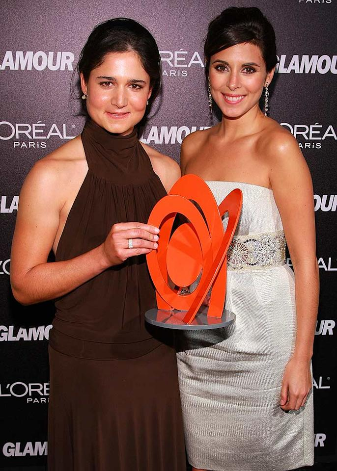 "Honoree Lorena Ochoa poses with her presenter Jamie-Lynn Sigler. The Mexican golfer is currently ranked #1 in the world. Dimitrios Kambouris/<a href=""http://www.wireimage.com"" target=""new"">WireImage.com</a> - November 5, 2007"