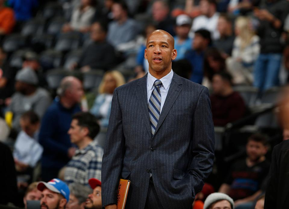 """FILE - In this Jan. 19, 2016 file photo, then-Oklahoma City Thunder assistant coach Monty Williams is seen in the second half of an NBA basketball game in Denver. Without his wife, it's a bittersweet Olympics for Williams. When Ingrid Williams died on Feb. 11 at age 44, it meant he would experience Rio alone. """"So a little bittersweet, but at the same time we've had to manage that and move forward,"""" Williams, US assistant coach, said in an interview with The Associated Press. (AP Photo/David Zalubowski, File)"""