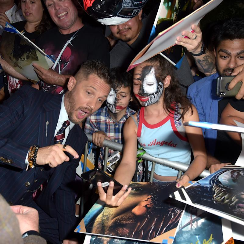 WESTWOOD, CA - OCTOBER 01: Tom Hardy attends the premiere of Columbia Pictures' 'Venom' at Regency Village Theatre on October 1, 2018 in Westwood, California. (Photo by Kevin Winter/Getty Images)