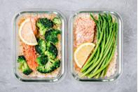 <p>Spend half of one day preparing and making meals for breakfast, lunch, and dinner -- or at least for some of them. Separate each meal into its own container and stock the fridge. When you're hungry and short on time during the week, you can just grab one and heat it up. </p>