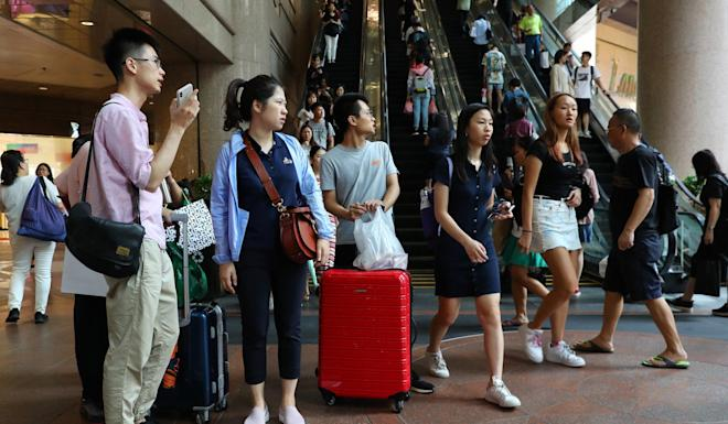 Mainland Chinese tourists pictured at Times Square, Causeway Bay. Photo: Edmond So