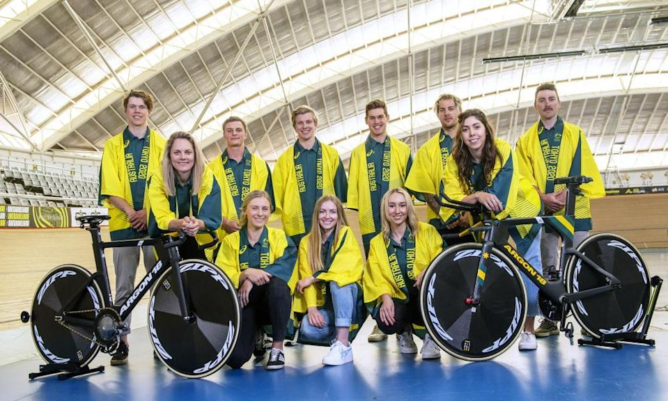 The track cycling teams in their kimonos for Tokyo.