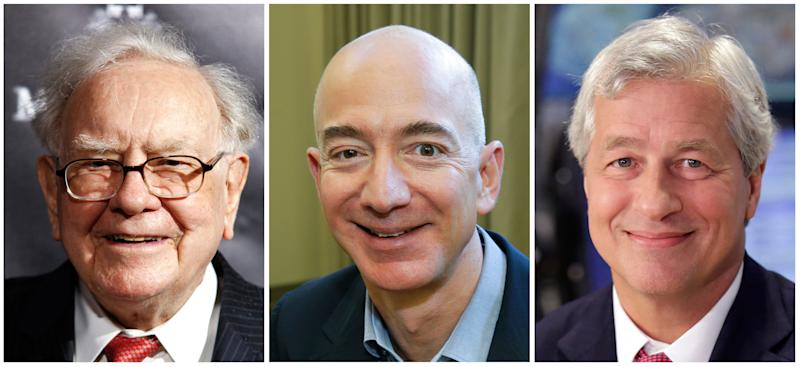 From left, Warren Buffett, Jeff Bezos, and Jamie Dimon. The three have turned to well-known author and Harvard professor Dr. Atul Gawande to transform the health care they give their employees. (AP Photos, File)