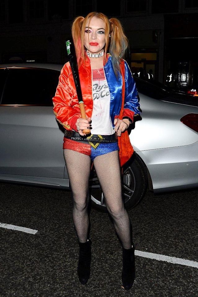 <p>LiLo went out in London dressed in one of this year's most popular Halloween costumes — <i>Suicide Squad</i>'s Harley Quinn. (Photo: AKM-GSI) </p>
