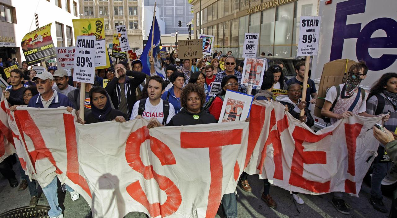Occupy Oakland protesters march Wednesday, Nov. 2, 2011, in Oakland, Calif. Thousands of anti-Wall Street protesters are in the streets of Oakland, Calif., as part of a day-long series of events aimed at showing the movement's strength and unity. (AP Photo/Ben Margot)