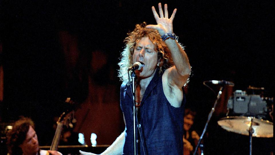 GEORGE, WA - May 27: Singer Robert Plant of Led Zeppelin performs on stage at The Gorge Amphitheater May 27, 1995 in George, Wa.